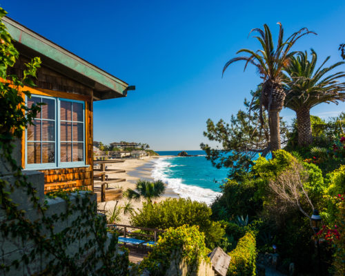 House and view of Victoria Beach, in Laguna Beach, California.